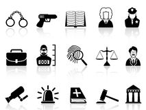 Gesetzes- und Gerechtigkeitsikonen eingestellt Lizenzfreie Stockbilder