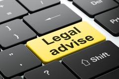 Gesetzeskonzept: Legal raten Sie auf Computertastaturhintergrund Stockbilder