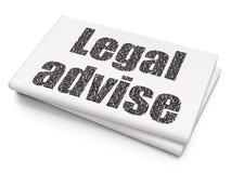 Gesetzeskonzept: Legal raten Sie auf leerem Zeitungshintergrund Vektor Abbildung
