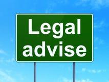 Gesetzeskonzept: Legal raten Sie auf Verkehrsschildhintergrund Lizenzfreie Abbildung
