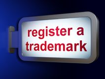 Gesetzeskonzept: Registrieren Sie ein eingetragenes Warenzeichen auf Anschlagtafelhintergrund vektor abbildung