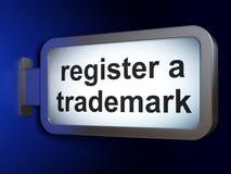 Gesetzeskonzept: Registrieren Sie ein eingetragenes Warenzeichen auf Anschlagtafelhintergrund stock abbildung
