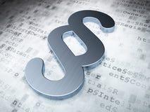 Gesetzeskonzept: Silberner Paragraph auf digitalem Hintergrund Lizenzfreies Stockbild