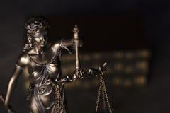 Gesetzesthema Blindes Gerechtigkeitssymbol - Themis Lizenzfreies Stockfoto