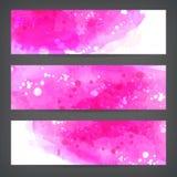 Gesetzte abstrakte Aquarellhandfarbenfahnen Stockfotografie