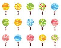 Gesetzte abstrakte Bäume - Jahreszeiten Stockbilder