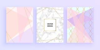 Gesetzte abstrakte geometrische Designe mit Gold, Funkeln, Creme, hellblauem, Pastellrosa und Marmor masern Hintergrund Vektor mo lizenzfreie abbildung