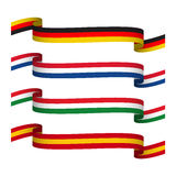 Gesetzte Bänder des Vektors in den Farben von Deutschland, von Frankreich, von Italien und von Spanien lokalisierten Stockbild
