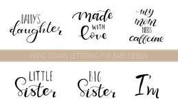 Gesetzte beschriftende Zitate für Entwurf von Babykleidung stockfoto