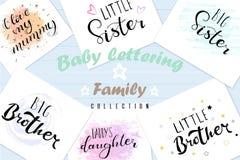 Gesetzte beschriftende Zitate für Entwurf von Babykleidung stock abbildung