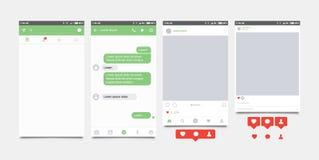 Gesetzte bewegliche Anwendung und Ikone für Soziales Netz Mitteilungsikonen flach Lizenzfreie Stockfotografie