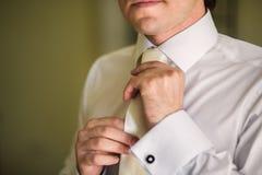 Gesetzte Bindung des Bräutigams gerade Lizenzfreies Stockbild
