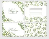 Gesetzte Blumen des Hochzeitseinladungs-Rahmens, Blätter, Aquarell, lokalisiert auf Weiß lizenzfreie abbildung
