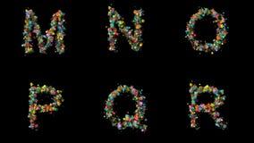 Gesetzte Blumenbuchstaben stock footage