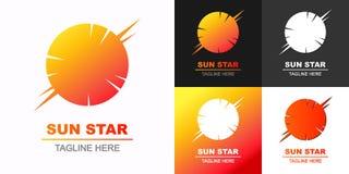 Gesetzte bunte Art des Vektorsonnenstern-Logos für eco Unternehmen, Technologiefirma Stockfotos