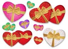 Gesetzte bunte Herzen banden Goldband mit einem Bogen Kasten in Form eines Herzens Vektor stock abbildung