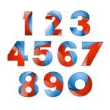 Gesetzte bunte Ikone des Volumens 3d der Zahl Vector Design für Fahne, Darstellung, Webseite, Karte, Aufkleber oder Poster Lizenzfreie Stockfotos