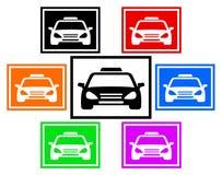 Gesetzte bunte Ikone mit Taxiauto Stockbild