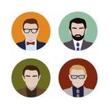 Gesetzte bunte männliche Gesichter Stockbilder