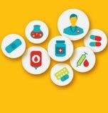 Gesetzte bunte medizinische Ikonen für Webdesign stock abbildung
