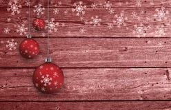 Gesetzte Dekoration Weihnachtsbirnen auf hölzernem Hintergrund Stockfotografie