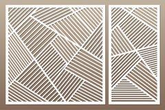 Gesetzte dekorative Karte für den Schnitt Geometrische Zeile Muster Laser c vektor abbildung