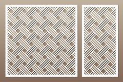 Gesetzte dekorative Karte für den Schnitt Geometrische Zeile Muster Laser c stock abbildung