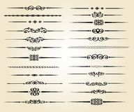 Gesetzte dekorative Regellinien im unterschiedlichen Design weinlese Stockbilder