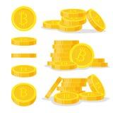 Gesetzte digitale bitcoins flache Art auf weißem Hintergrund Ikonenfinanzhaufen, Goldmünzestapel Goldene Geldstellung Stockbild