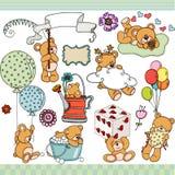 Gesetzte digitale Elemente des glücklichen Teddybären vektor abbildung