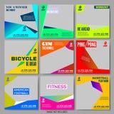 Gesetzte Editable Schablonen Sport-Training Promo lizenzfreie abbildung