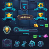 Gesetzte Einzelteilknöpfe und -ikone Monsterkampf GUI stock abbildung