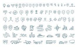Gesetzte Elemente der Karte des Handabgehobenen betrages Transportspurhaltung Gesetztes Entwurf Federzeichnung der Reisegeographi Stockfotografie
