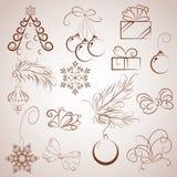 Gesetzte Elemente der Skizze Weihnachts, Vektor Lizenzfreies Stockfoto