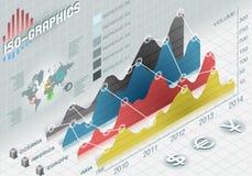 Gesetzte Elemente Infographic Histogramms in den verschiedenen Farben Stockfoto