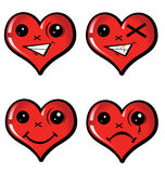 Gesetzte emotionale Herzen Stockbild