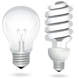 Gesetzte energiesparende Glühlampelampenelektrizität Lizenzfreie Stockfotos