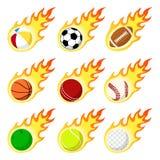 Gesetzte flache Art des Ballaufkleberflammen-Aufklebers Stockfotos