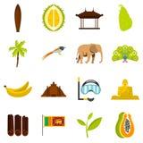 Gesetzte flache Ikonen Sri Lanka-Reise Lizenzfreies Stockfoto