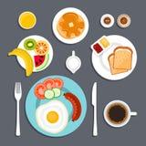 Gesetzte flache Illustration des Frühstücks vektor abbildung
