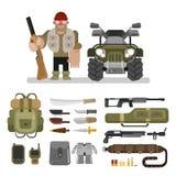 Gesetzte flache Vektorillustration der Jägerausrüstung Stockfotografie