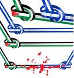Gesetzte Flagge Israels und Palästinas Stockbilder