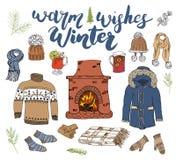 Gesetzte Gekritzelelemente der Wintersaison Übergeben Sie gezogene Skizzensammlung mit Kamin, Glas heißer Wein, Stiefel, Kleidung Lizenzfreie Stockbilder