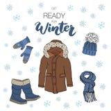 Gesetzte Gekritzelelemente der Wintersaison Übergeben Sie gezogene Skizzensammlung mit Stiefeln, warmer Kleidung, Socken, Handsch Lizenzfreie Stockfotografie