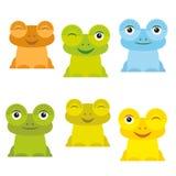 Gesetzte gelbe grün-blaue Orange des netten Frosches der Karikatur lustigen auf weißem Hintergrund Vektor Lizenzfreie Stockbilder