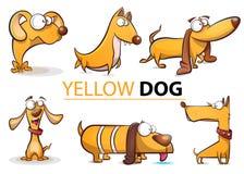 Gesetzte gelber Hunde-Karikaturillustration 2018 Lizenzfreies Stockfoto