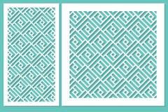 Gesetzte geometrische Verzierungsschablone Karte für Laser-Ausschnitt Stockbild