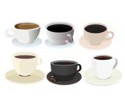 Kaffeetasse-Ikonen-Satz Lizenzfreies Stockbild