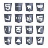 Gesetzte graue Variante der Vektornetzschild-Ikone: html5, css3 Lizenzfreie Stockfotos