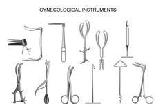 Gesetzte gynäkologische Geburts- Instrumente eingestellt stock abbildung
